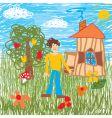 children's drawing vector image