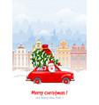 christmas character santa in the car vector image vector image