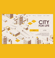 city for life with cars and trees isometric vector image