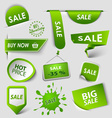 Collection web green pointers labels for shopping vector image vector image