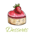 Color sketched cake with strawberry for patisserie vector image vector image