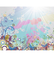 colorful grunge floral background vector image vector image