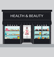 cosmetics store building and interior with vector image vector image