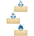 Cute Blue Birds on Wooden Sign Set 4 vector image vector image