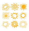 cute sun icons set yellow childish doodle vector image vector image