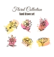 floral decorative set Colorful splashes vector image vector image