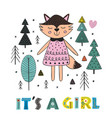 fox girl in the forest scandinavian style vector image