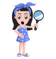 girl with magnifying glass on white background vector image vector image