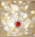 golden necklace with ruby and diamonds vector image