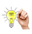 hand draws a light bulb concept idea vector image