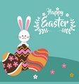 happy easter rabbit egg festive vector image vector image