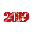 happy new year card red number 2019 gold hearts vector image