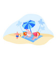 happy young family characters relaxing on beach vector image vector image