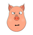 head of confused pig in cartoon style kawaii vector image vector image