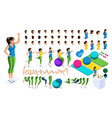 isometrics create your sports girl vector image vector image
