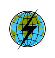 lightning on earth icon flat style vector image vector image