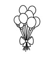 line funny balloons style with ribbon bow vector image vector image