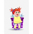 little girl with ginger hair holding big gift box vector image vector image