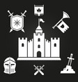 medieval castle silhouette and knights tales vector image