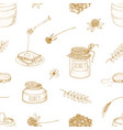 monochrome seamless pattern with honey dipper vector image vector image