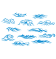 Ocean and sea waves set vector image