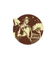 Organic Farmer Holding Shovel Farm Circle Woodcut vector image vector image