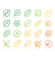 organic leaf simple color line icons set vector image vector image