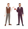pair of bearded men dressed in business clothes vector image vector image
