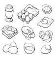 raw and cooked eggs hand drawn vector image