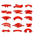red ribons set isolaten on background vector image vector image