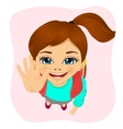 schoolgirl with glasses showing five fingers vector image vector image