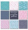 set eight hand drawn ink seamless patterns vector image vector image