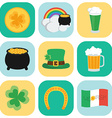 Set of icons on St Patricks Day Flat style vector image