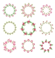 Set rose floral ornate round frames vector image