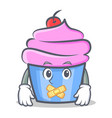 silent cupcake character cartoon style vector image vector image