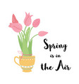 spring is in air text decorated hand drawn vector image vector image