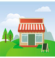 Store house with striped awning vector | Price: 1 Credit (USD $1)
