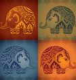Stylized fantasy patterned elephants in indian
