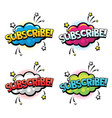 subscribe word for comics blogging streaming and vector image vector image