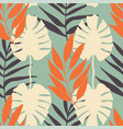 tropical leaves seamless pattern repeat vector image vector image