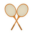 two crossed tennis rackets in vintage design vector image