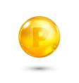 Vitamin P glitter gold icon vector image vector image