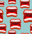 Yells lips seamless pattern call background vector image vector image