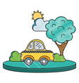 grated taxi car service in the city with tree vector image