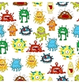 Seamless pattern of ugly cartoon monsters vector image