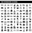 100 window icons set simple style vector image vector image