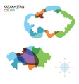Abstract color map of Kazakhstan vector image vector image