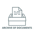 archive documents line icon archive of vector image vector image