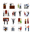 Auction People Flat Icons Set vector image vector image