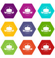 bio health food icons set 9 vector image